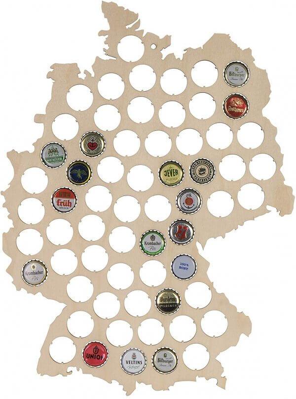 Kronkorken Karte - Kronkorken Sammel Karte - Deutschlandkarte zum Bierdeckel sammeln - Bierdeckelkarte