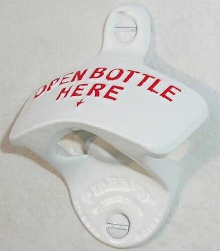 Flaschenöffner Kapselheber Wandflaschenöffner STARR X Open Bottle Here weiss//rot
