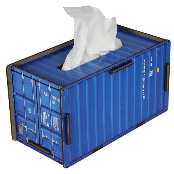 Wichstücher Box blau Wichstuchspender Samenauffangtuch-Box